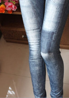 blue jeans - Women Sexy jegging Jeans Look Patch Tights Skinny Destroy Blue