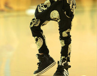 Wholesale 2014 Spring Autumn Children Casual Pants Fashion Skull Kid s Harem Pants Cotton Trousers Child Wear Clothes GX109