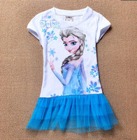 TuTu Summer A-Line 2014 summer children's skirt Create snow and ice Frozen cotton dresses of the girls Foreign trade children's clothing wholesale