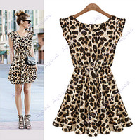 Wholesale 2014 new fashion Summer Women s European Style Leisure Slim Fit Leopard Print mini Dress