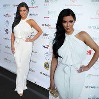 Reference Images High Neck Chiffon SSJ2014 Celebrity Dresses Kim Kardashian Halter High Neck Sleeveless White Chiffon Floor-length Sexy Evening Gowns Red Carpet Dresses NC0012
