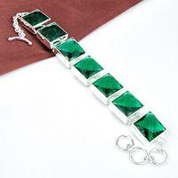Wholesale 925 silver green topaz square Handmade Silver crystal Bracelet B0945