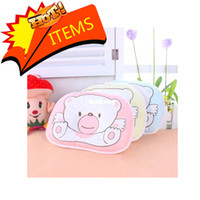 Wholesale Hot Cotton Baby Pillow Infant Bedding Print Bear Oval Shape Shaping Little Foam Neck Support Preventing Flat Head Syndrome