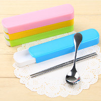Wholesale Eco Friendly Portable Chopsticks Spoon Cute Stainless Steel Tableware Travel Dinnerware Set set SH331