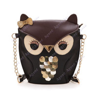 Wholesale New fashion Women s Lady Splicing Color synthetic leather Cross Body Bag Owl Pattern Holder Cover Bag Hand bag