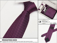 Wholesale Formal boxed tie necktie set cuff link kerchief commercial marriage tie sets