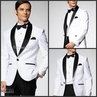 Tuxedos suit jacket pants - Top Selling White Jacket With Black Satin Lapel Groom Tuxedos Groomsmen Best Man Suit Men Wedding Suits Jacket Pants Bow Tie Girdle A1