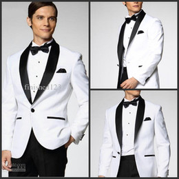 Wholesale Top Selling New White Jacket With Black Satin Lapel Groom Tuxedos Groomsmen Best Man Suit Men Wedding Suits Jacket Pants Bow Tie Girdle A1