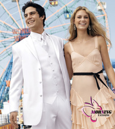 Wholesale Custom made Groom Tuxedos Suit Men bright silk ivory white tuxedos