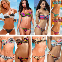 Wholesale Sexy Women s Bikini Swimwear Push up Padded Swimsuit Fashion Leopard Dot Rainbow Zebra Bathing Suit Plus Size Top amp Bottom Swimming Wear T86