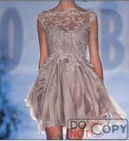 Wholesale 2014 Sparkly Graduation Paolo Sebastian Cocktail Dresses Bateau Neck Party Cap Sleeve Lace Crystal Beads Chiffon Short Formal Prom Gowns
