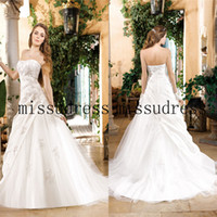 A-Line Reference Images Jewel 2014 New Item Sweetheart Lace Applique Draped Soft Tulle Wedding Dress Free Shipping Custom Made Bridal Gown High Quality