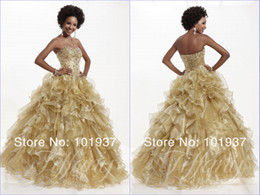 Wholesale 2014 Custom made girls Quinceanera Dresses with ruffles sequins beaded floor length sweetheart lace up back evening prom ball gowns