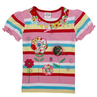 cotton fabric for t-shirt - K3989 nova kids girl clothing flower embroidery cotton stipe fabric short sleeve t shirt for summer