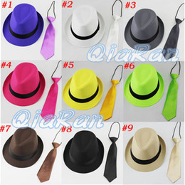 Wholesale Solid Color Baby Unisex Fedora Hat with Necktie Boys Girls Fedoras with Neck Tie Set Children Top Hat Jazz Cap sets FH022