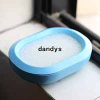 Wholesale New Arrival Fashion Candy Color Plastic Bathroom Soap Dishes Box Holder Tray With Sponge Hot Sale WKRY dandys