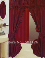 Wholesale High Quality Double Swags Polyester Shower Curtain White Red Rosy Color