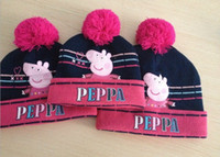 Wholesale good quality animal peppa pig printed knitted baby cap boys girls winter hat for kids with hats is children s