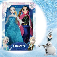 As photo Plastic Clothing  Retail Frozen Anna Princess Empress Elsa Hans Kristoff Sven Olaf Action Figures Doll Classic Toys Decoration Children's Gifts Free Shipping
