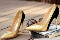 Wholesale Shoes Women heel rivet color matching new characteristics Shallow pointed mouth High heels stiletto heel xz063