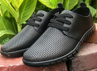 Wholesale New style groom dress shoes men cool leather shoes Hollow out breathable lace up sandals Dad driving shoes LX64