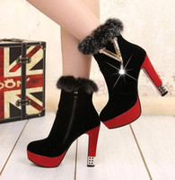 Wholesale Women s luxury glaring Real rabbit hair metal diamond ultra high with fluffy female short boots xz059