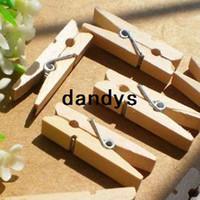 Wholesale 500Pcs Mini Wooden Clips Natural Paper Photo Clips Bookmark Clothes Pegs Pins dandys