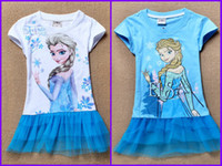 Girl Summer Character Pure cotton children summer clothes girls girl Anna Elsa Frozen princess short sleeve dress summer dresses Short-sleeved dress 6pcs lot