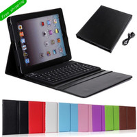 Wholesale HOT Bluetooth Wireless Keyboard leather case for New Ipad ipad air mini Tablet PC Stand case With Silicone Keyboard with package