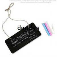 Wholesale 10Pcs New Small Wooden Wall mount Black Board With Rope Message Chalkboard Hanging Party Wedding Blackboard Doorplate dandys