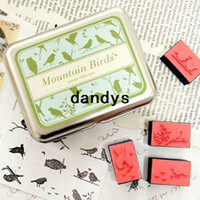 Wholesale New Cute Mountain Birds Stamp Set Iron Gift Box Tin Case Rubber Stamps Pad Decorative DIY Stamp dandys