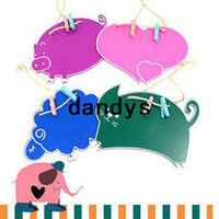 Wholesale New Cute Animal Chalkboard Wood Message Blackboard Pig Cat Sheep Heart Free Rope amp Clips dandys