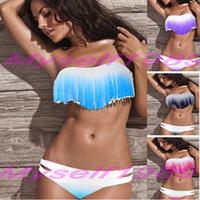 Bikinis bandeau - 2014 SEXY FRINGED GRADIENTS COLOR MODEST SWIMWEAR BEACHWEAR FASHION BANDEAU SWIMSUITS FOR WOMENS brazilian bikinis ladies push up bathing