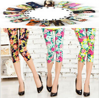 Wholesale 2014 spring new high elastic combed cotton comfortable cotton pant color printing c060