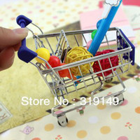Wholesale mini small supermarket shopping cart small desktop trolley cart pocket size storage car Mobile retail Box