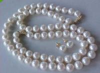 al por mayor 14k pulseras de perlas de oro al por mayor-Comercio al por mayor 10-11mm GENUINO AAA BLANCO PERLA PULSERA PENDIENTES SET ORO 14K BROCHE