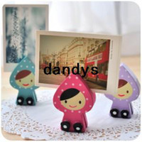 Wholesale Creative cute girl Wooden message clip photo folder notes folder Desktop decoration dandys