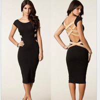 Work Christmas Modern 2014 summer sexy knee-length dress Bandage Dress Celebrity backless bodycon dresses pencil dress