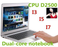 Wholesale DHL FREE CHEAP Hot inch Netbook Dual Core Intel Atom D2500 Dual core Laptop HDD DDR3 thin Airbook Netbook