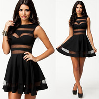 Wholesale M L Plus Size New Fashion Women Sexy Mesh Patchwork A Line Black Summer Casual Dress