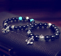 Wholesale Royal agate beaded bracelet with tibetan silver charms spacer bead turquoise beaded bracelet stretch bracelet women bracelet men bracelet