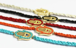 Wholesale Hand of Fatima hamsa bracelet Multi Color Wax cord with crystal evil eye bracelet friendship in gold best gifts
