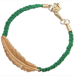 Fashion Hand-knitted bracelet,Multi-color wax cord bracelet,feather bracelet -- Tibetan silver   Gold