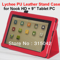 "Protective Shell/Skin 7'' For Apple New Arrival! Lychee PU Leather Case for NOOK HD+ 9"" Tablet PC, Stand cover protector for 9"" tablet,opp bag packing, free ship"