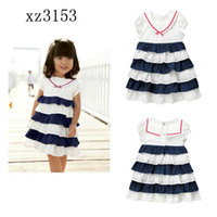 TuTu Summer A-Line LKS257 Cheap China Blue Stripe Cotton Girls Dresses Baby Girls Short Sleeve Summer Dress