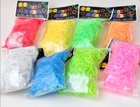 Charm Bracelets Other Children's Fluorescence night dark glow Rainbow Loom Rubber Band Refills Twistz Bands (600bands+ 24S C-Clips bag)