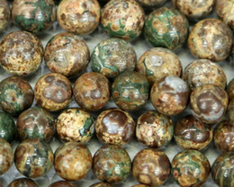 "Discount Wholesale Natural Green China Ocean Jasper Round Loose Stone Beads 3-18mm Fit Jewelry DIY Necklaces or Bracelets 15.5"" 03320"