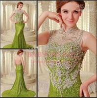 Reference Images High Neck Sequined Custom Made 2014 Zuhair Murad Sexy Sheer High Neck Appliques Beads Crystals Keyhole Back Mermaid Formal Evening Dresses Prom Gowns BO3350