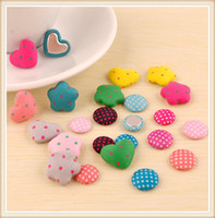 Buttons   Cute Assorted pattern mix color, star round heart shaped fabric covered button, 100pcs lot free shipping CB115