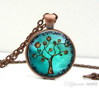 Wholesale Glass pendant necklace Copper Tree Necklace Pendant Charms Art Picture Pendant Copper Jewelry Handmade Jewelry Lizabettas